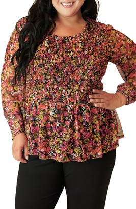 Maree Pour Toi Floral Print Smocked Mesh Top