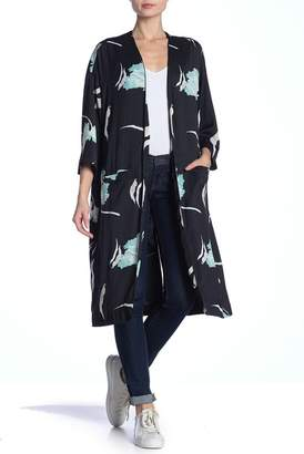 1 STATE 1.State Open Front Satin Leaf Print Duster Jacket