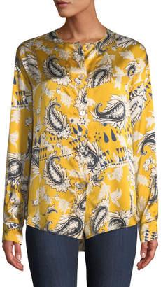 Forte Forte Collarless Afrika-Print Silk Button-Front Shirt