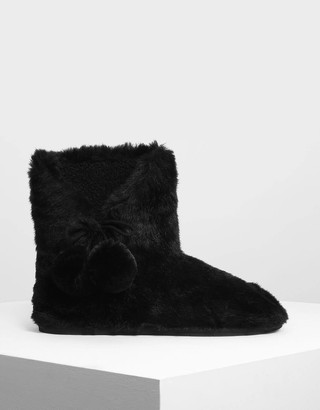 9bbaeeef01b Charles   Keith Furry Pom Pom Boots