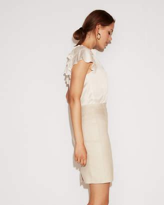 Express High Waisted Pintuck Linen-Blend Pencil Skirt