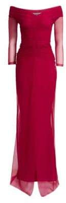 Chiara Boni Women's Aytana Ruched Mesh Gown - Cherry - Size 8