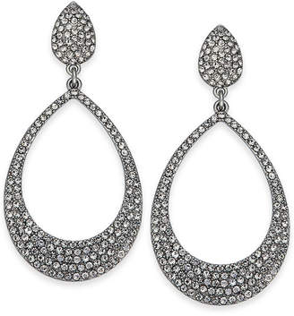 """INC International Concepts I.N.C. Large 1.8"""" Silver-Tone Pavé Drop Hoop Earrings, Created for Macy's"""