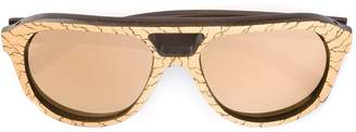 Gold And Wood 'Copa' mirrored sunglasses
