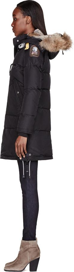 Parajumpers Black Fur-Hooded Long Bear Coat