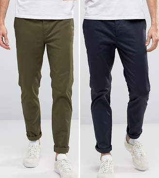 Asos 2 Pack Slim Chinos In Khaki & Navy SAVE