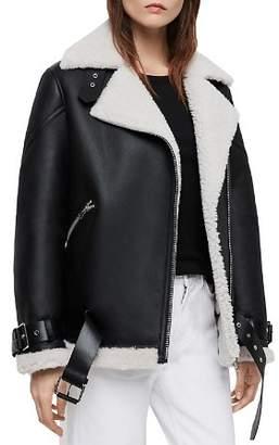AllSaints Hawley Shearling Biker Jacket