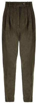 A.W.A.K.E. Mode A.w.a.k.e. Mode - Tapered Leg Cotton Corduroy Trousers - Womens - Dark Green