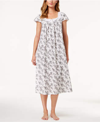 Charter Club Cotton Floral-Border Nightgown