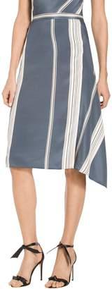 St. John Viscose Satin Stripe Wrap Skirt