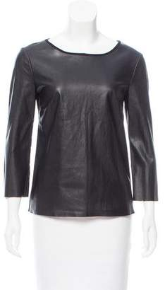 Ella Moss Faux Leather Long Sleeve Top