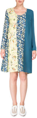 Acne Studios Jordy Mixed Floral-Print Scoop-Neck Chemise Dress