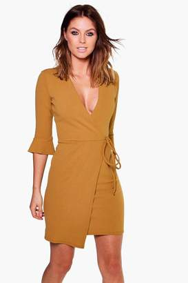 boohoo Nara Flute Sleeve Tie Wrap Bodycon Dress $30 thestylecure.com