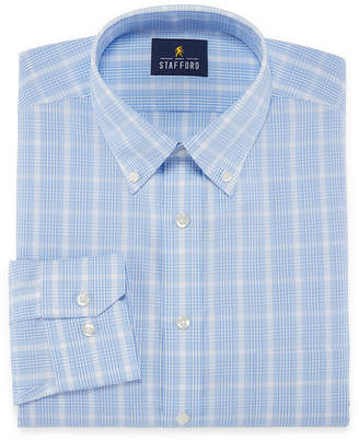 STAFFORD Stafford Executive Non-Iron Cotton Pinpoint Oxford Long Sleeve Checked Dress Shirt