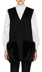 Fendi Women's Fur-Trimmed Wool Vest-Black