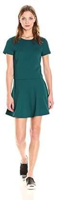 Paris Sunday Women's Short Sleeve Textured Ponte 2 Piece Skirt Set
