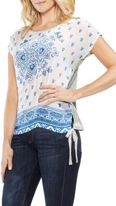 Vince Camuto Side Tie Medallion Print Top