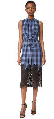 Rebecca Taylor Sleeveless Plaid Dress with Lace $550 thestylecure.com