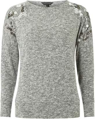Dorothy Perkins Womens Grey Sequin Embellished Shoulder Cut