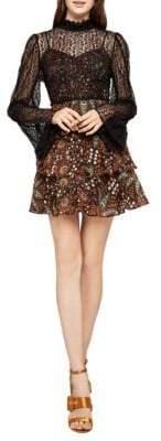 BCBGeneration Mixed Media Tiered Ruffle Dress