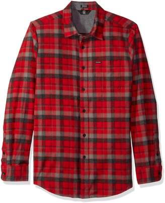 Volcom Men's Caden Classic Flannel Long Sleeve Shirt, Deep (RED), M