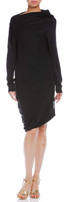 Maison Margiela (メゾン マルジェラ) - Maison Margiela シルク混 アシンメトリー 長袖ドレス ブラック 38