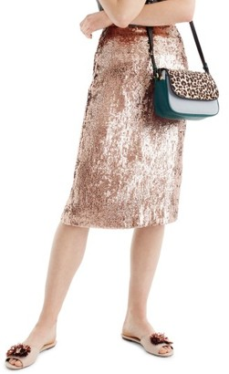 Women's J.crew Rose Gold Sequin Skirt $135 thestylecure.com