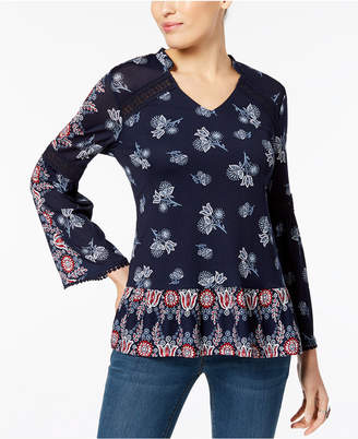 Style&Co. Style & Co. Printed Bell-Sleeve Tunic Top, Created for Macy's