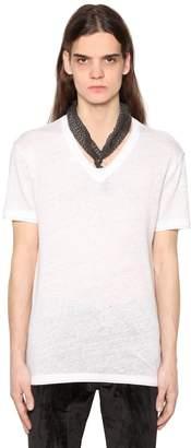 John Varvatos V Neck Linen Jersey T-Shirt