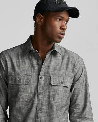 Express Slim Crosshatch Chambray Shirt