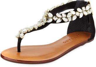 Carrano Una Crystal-Embellished Leather Thong Sandal