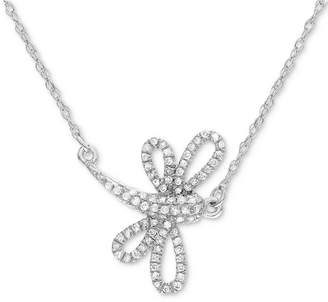 Macy's Diamond Dragonfly Pendant Necklace (1/8 ct. t.w.) in 14k White Gold