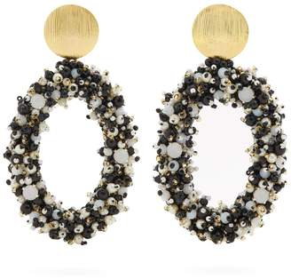Carolina Herrera Bead-embellished hoop-drop earrings