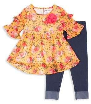 Little Lass Little Girl's 2-Piece Floral Chiffon Top & Denim Leggings