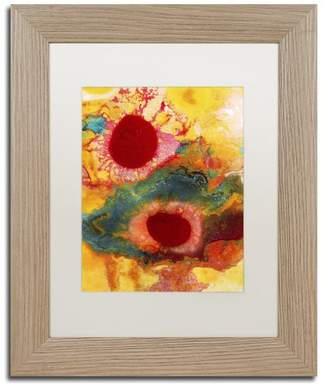 Trademark Fine Art 'Abstract Red Daisies Vertical' Framed Art, Birch Frame, White Matte