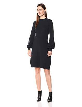 Lark & Ro Women's Mock Neck Fit and Flare Sweater Dress with Bell Sleeves