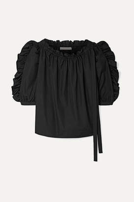 See by Chloe Ruffled Cotton-poplin Top - Black