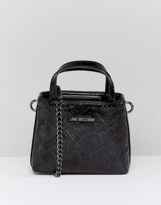 Love Moschino metallic embossed logo handle bag with strap