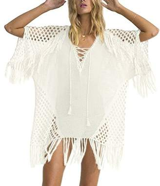 10c8ea2cd25 Yonala Womens Crochet Tassel Swimwear Beach Dress Bikini Swimsuit Cover Up  Tops