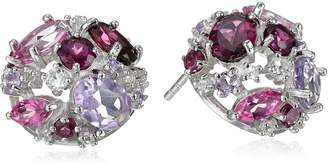 Kenneth Jay Lane Fine Jewelry Sterling Silver, Rhodolite, and White Topaz and Amethyst Orbital Button Ball Earrings