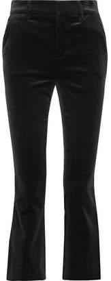 Frame Cropped Cotton-blend Velvet Bootcut Pants - Black