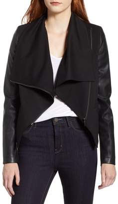Bagatelle Drape Faux Leather Jersey Jacket