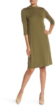 Eileen Fisher Mock Neck Long Sleeve Knit Dress