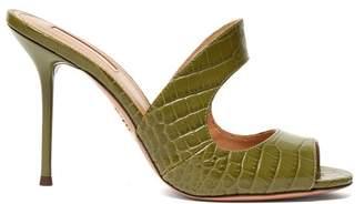 Aquazzura Forever 75 Crocodile Embossed Leather Mules - Womens - Khaki
