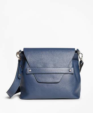 Brooks Brothers Pebbled Leather Envelope-Flap Shoulder Bag