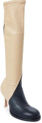 Celine Black & Beige Bicolor Stretch Leather Knee Boots