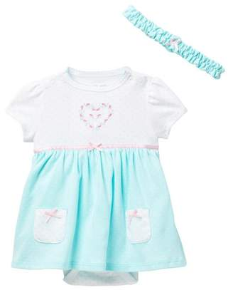 Little Me Heart Dot Bodysuit Dress & Headband Set (Baby Girls)