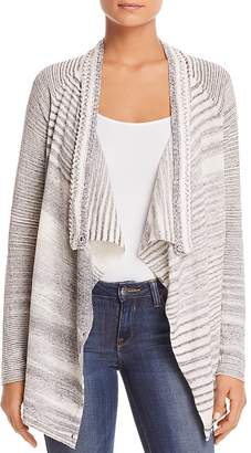 Nic+Zoe Time Change Draped Mélange Stripe Cardigan