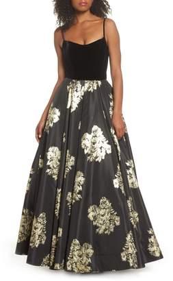 Mac Duggal Velvet & Floral Ballgown