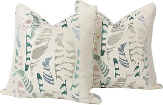 One Kings Lane Vintage Silk-Embroidered Feather Pillows - Set of 2 - Ivy and Vine